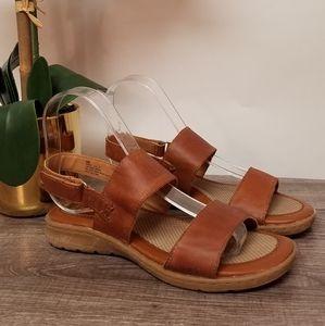 BOC Tan Leather Sandals W/Hook & Loop Fasteners